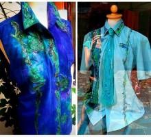 Svilena  bluza in moška srajca, butik Lina-svila